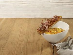 Velouté de carottes, pop corn au ketchup Heinz et tartine oignons et lard grillés Cliquez sur le visuel pour le télécharger